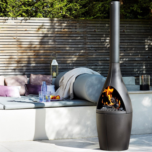 Kamino Outdoor fireplace, H180 x W45 x L45cm, Black