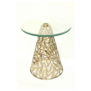 Fern Side table, D40.5 x H55cm, antique gold
