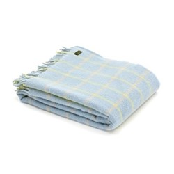 Chequered Check Throw, 150 x 183cm, duck egg