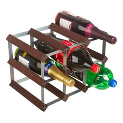 9 bottle wine and soft drink rack, H24 x W35 x D23cm, dark/galvanised steel