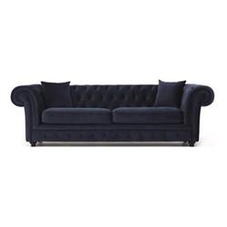 Branagh 3 seater chesterfield sofa, H76 x W246 x D94cm, electric blue velvet