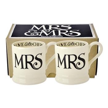 Black Toast - Mrs & Mrs Pair of mugs, 1/2 pint