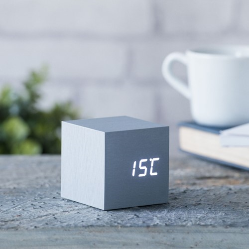 Cube Click Clock, L6.8 x W6.8 x H6.8cm, Aluminium/White