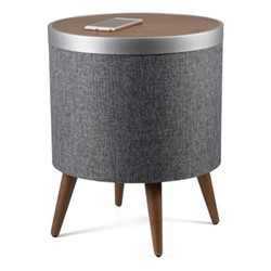 Zain Smart charging side table, H50.5 x W41 x D41cm, walnut and dark grey