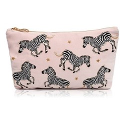 Kenya Collection - Zebra Velvet Travel Pouch, 20 x 30cm, pink