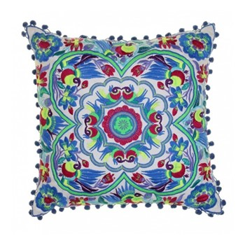 Acapulco Embroidered cushion, L40 x W40cm, blue