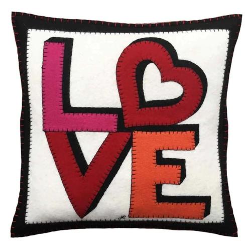 Love & Heart Cushion, 46 x 46cm, Cream
