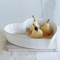 Porto Heart oven dish, W33 x H7cm, white stoneware