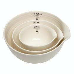 Pug Set of 3 nested bowls, Brown