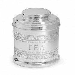 Audley Tea tin, H13 x W11 x D11cm, silver