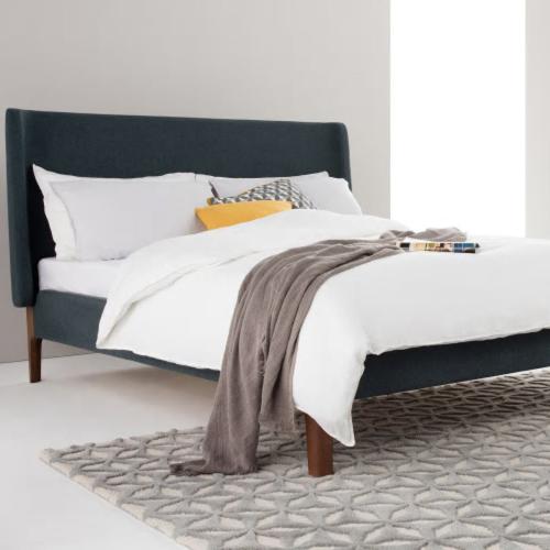 Roscoe Super king size bed, H114 x W202 x D215cm, Aegean Blue