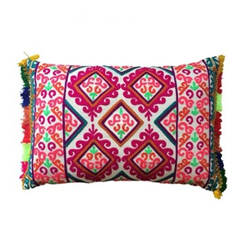 Fiesta Embroidered cushion, L60 x W40cm, multicolour