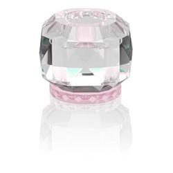 Texas T-light holder, L9 x H7.8 x D9cm, clear/rose