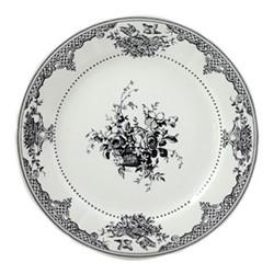Les Depareillées - Fleurs Set of 6 dessert plates, 23cm, black