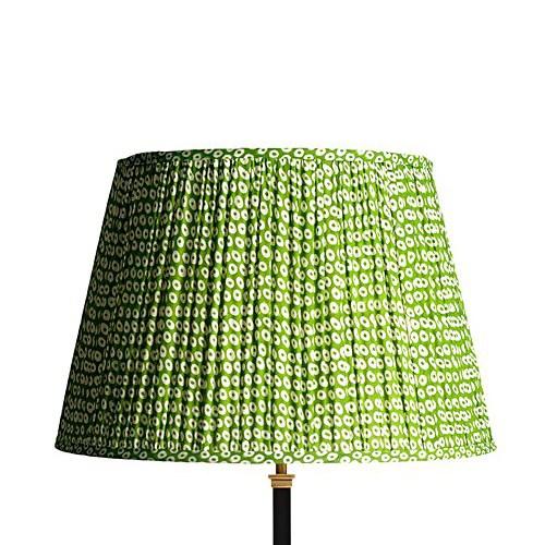 Straight Empire Block printed lampshade, 45cm, green cotton