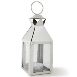 Mini square lantern, 19 x 6 x 6cm, glass and nickle plate
