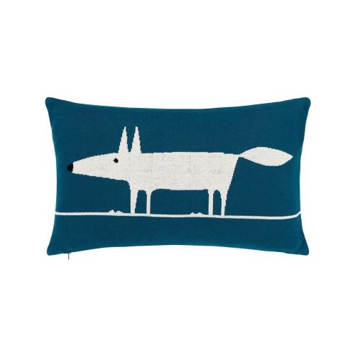 Mr Fox Cushion, L30 x W50 x H10cm, Blue