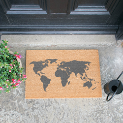World Map Doormat, L60 x W40 x H1.5cm, grey