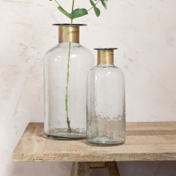 Chara Hammered Large bottle, D39 x 17cm, Clear Glass & Antique Brass