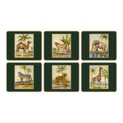 Traditional Range - African Animals Set of 6 coasters with frame line, 11 x 9cm, bottle green