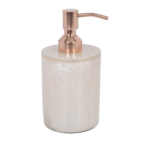 Marbled Resin Soap dispenser, D8 x H15.5cm, Ivory