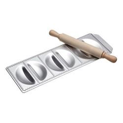 Imperia Italian Six hole ravioli tray with rolling pin