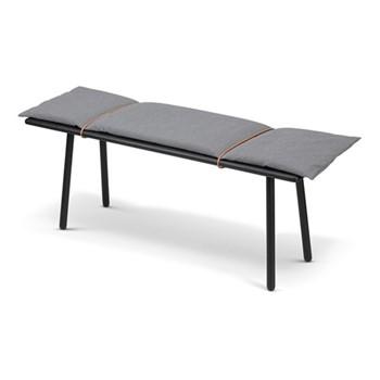 Georg Bench, W124 x D38 x H46cm, black/light grey