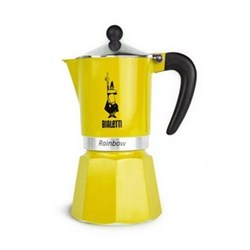 Rainbow Aluminium stovetop coffee maker, 6 cup, yellow