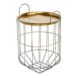 Tor Large side table, H58 x D40cm, antique brass and grey