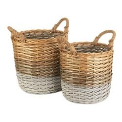 Triple Tone Set of 2 round storage baskets, willow