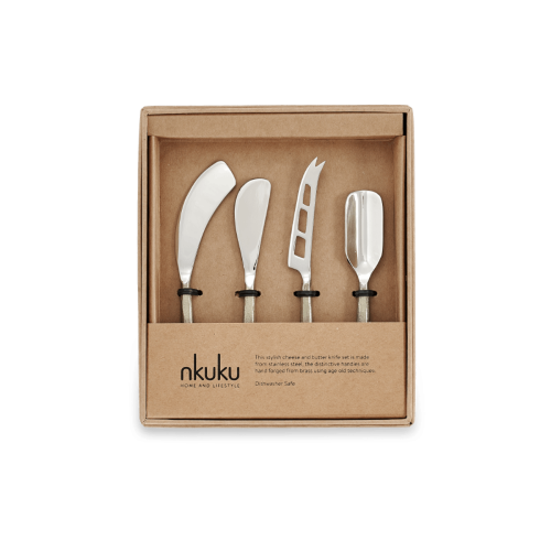 Darsa Set of 4 cheese knives, 14cm, Brushed Gold, Gift Boxed