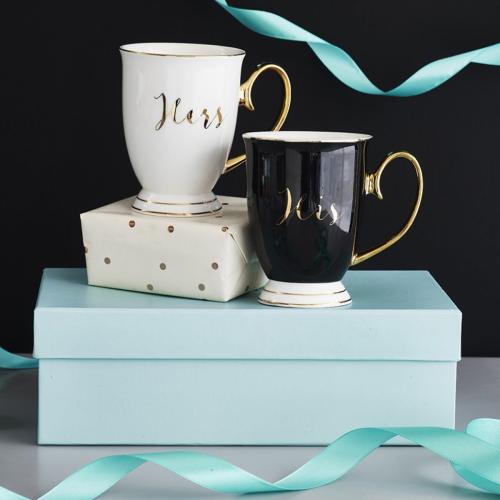 His & Hers Pair of mugs, H11 x Dia8.5cm, Black/White