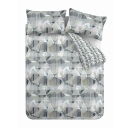 Abstract Super king quilt set, 220 x 260cm, grey