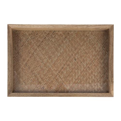 Woven base wooden tray, H5 x W51 x D35.1cm