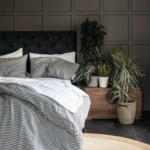 Pair of standard pillowcases, 50 x 75cm, Midnight Stripe