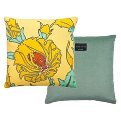 Aurora Velvet printed cushion, L40 x W40cm, yellow
