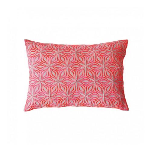 Martha Geometric Rectangular linen cushion, L50 x W30cm, Neon Coral