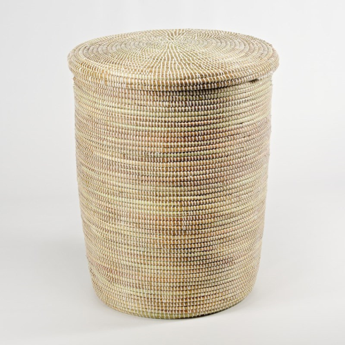 African Laundry basket with flat lid, 38 x 33cm, natural