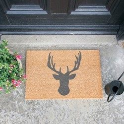 Stags Head Doormat, L60 x W40 x H1.5cm, grey