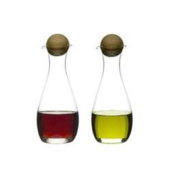 Nature Pair of oil/vinegar bottles with oak stoppers, H19cm - 30cl, oak