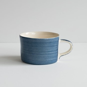 Horizontal Stripe Set of 6 mugs, H7 x W10.5cm, blue