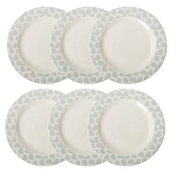 Helice Chalk Set of 6 dinner plates, W28 x H3cm, chalk/white