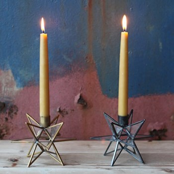 Moba Star Candlestick, 10.5 x 15 x 15cm, brass