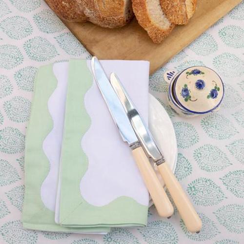 Wave Set of 4 napkins, 45 x 45cm, Green Cotton
