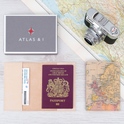 Passport case with personalised map cover, 14 x 10cm, leather
