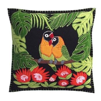 Tropical Love Birds Cushion, 38 x 38cm, black
