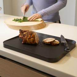 Cut & Carve Plus Multi-function chopping board, 37.5 x 29.5cm, Black