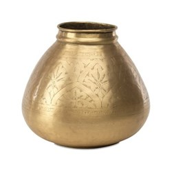 Nami Round pot, 26 x 30cm, antique brass