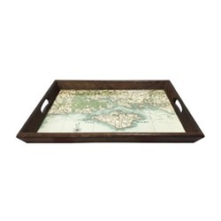 Large personlised drinks tray, L55 x W40cm, dark stained oak