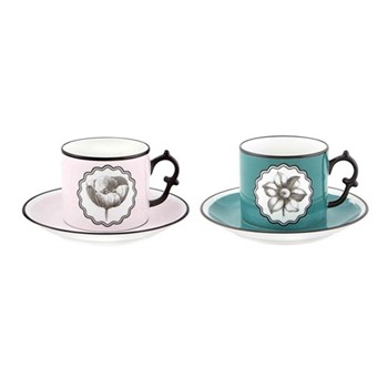 Herbariae Pair of teacups and saucers, pink and peacock